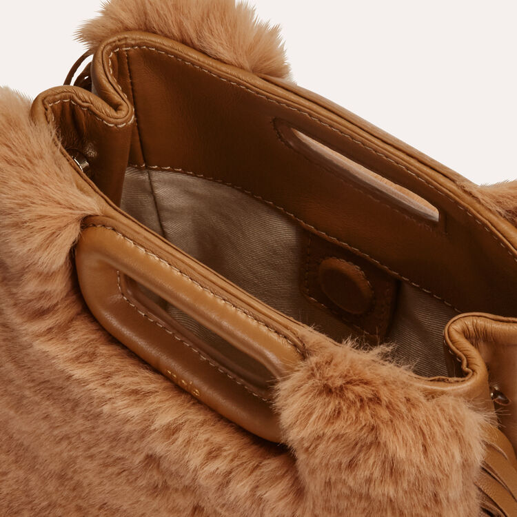 Mini M bag in leather with novelty fur : M Mini color Beige