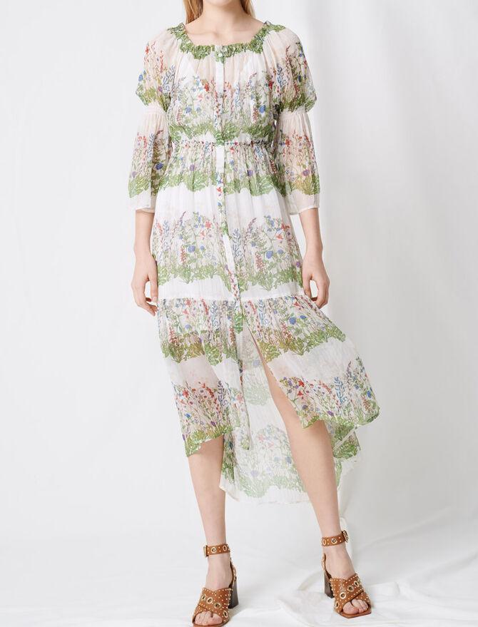 Printed silk long dress - Dresses - MAJE