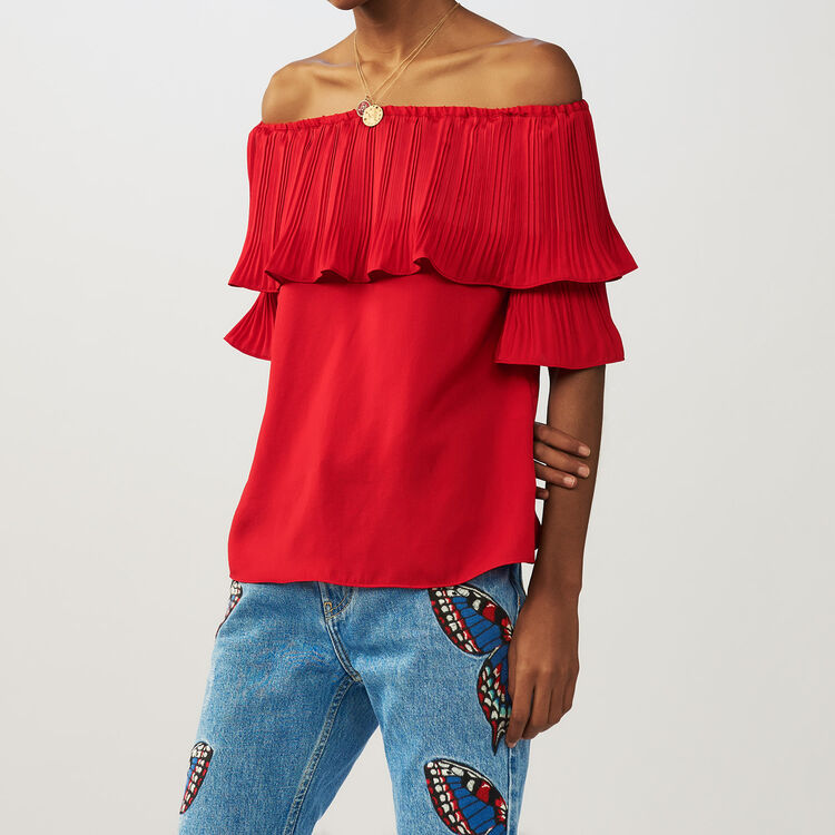Pleated frills top : Tops color ROUGE