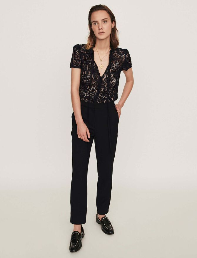 Guipure and crepe jumpsuit - Presoldes-50_BE - MAJE