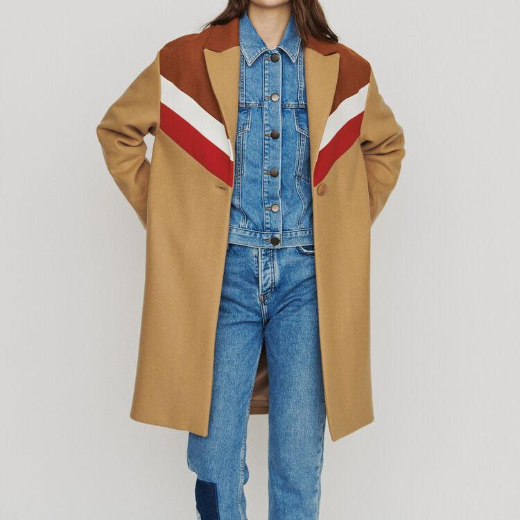 Oversize coat in virgin wool : Coats color Camel