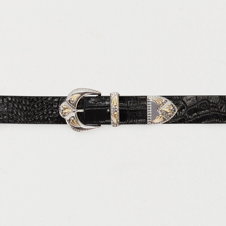 Double scalloped buckle leather belt : Belts color Black 210