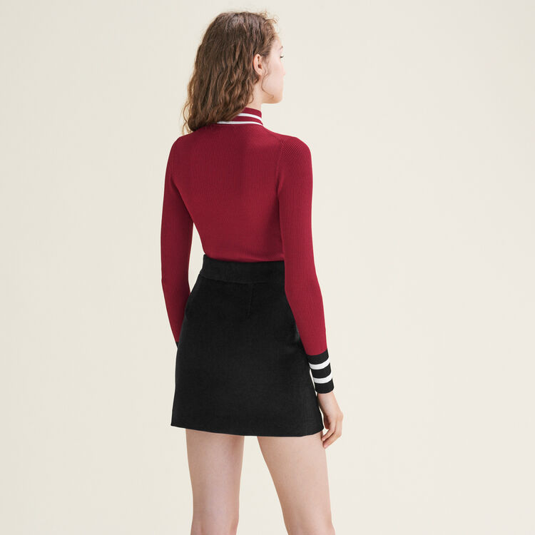 Fine knit zipped jumper : Sweaters & Cardigans color Burgundy