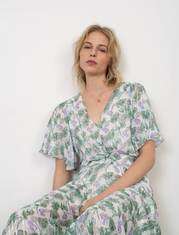 Printed muslin scarf dress - Eco-friendly - MAJE