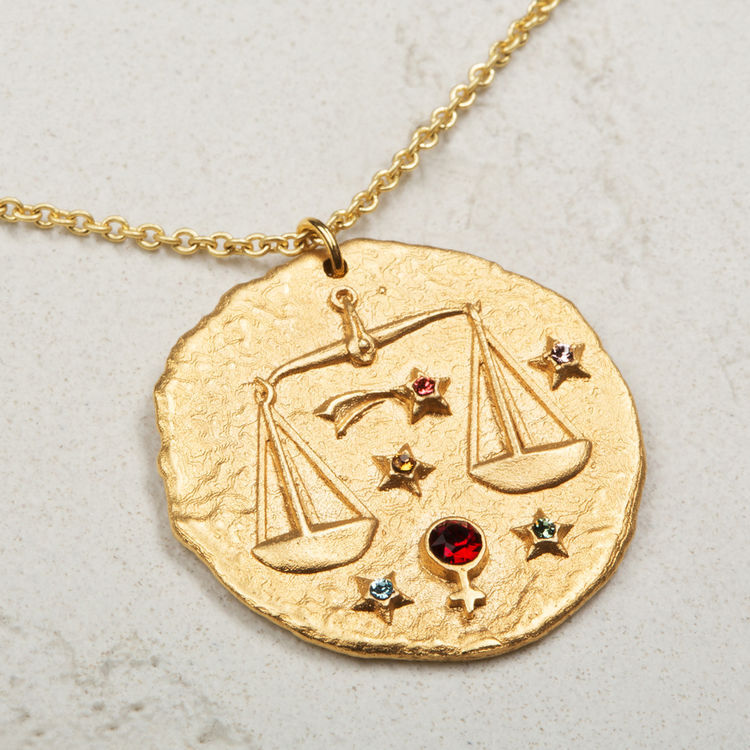 Libra zodiac sign necklace : Medallions color GOLD