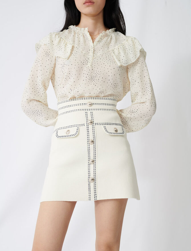Skirt with contrasting topstitching - Skirts & Shorts - MAJE