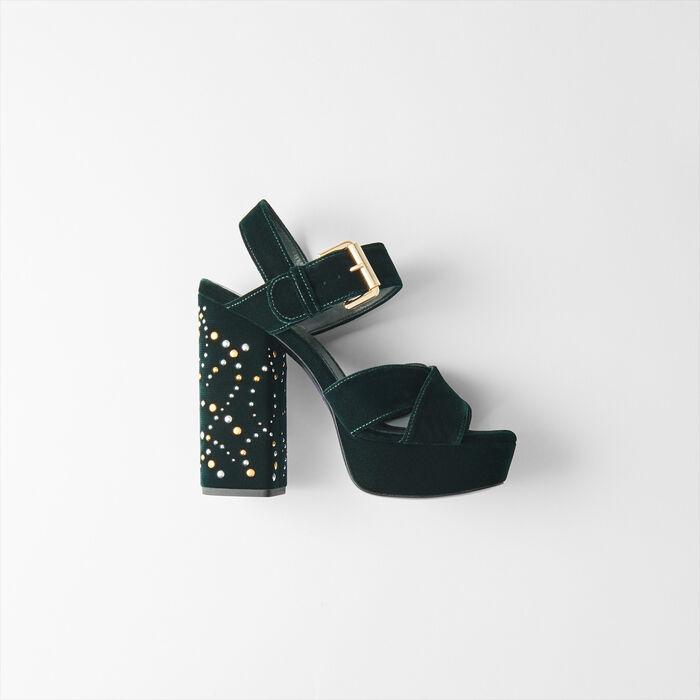 a58717aaecb7d 119 FRILBU Studded velvet platform sandals - Slipper - Maje.com
