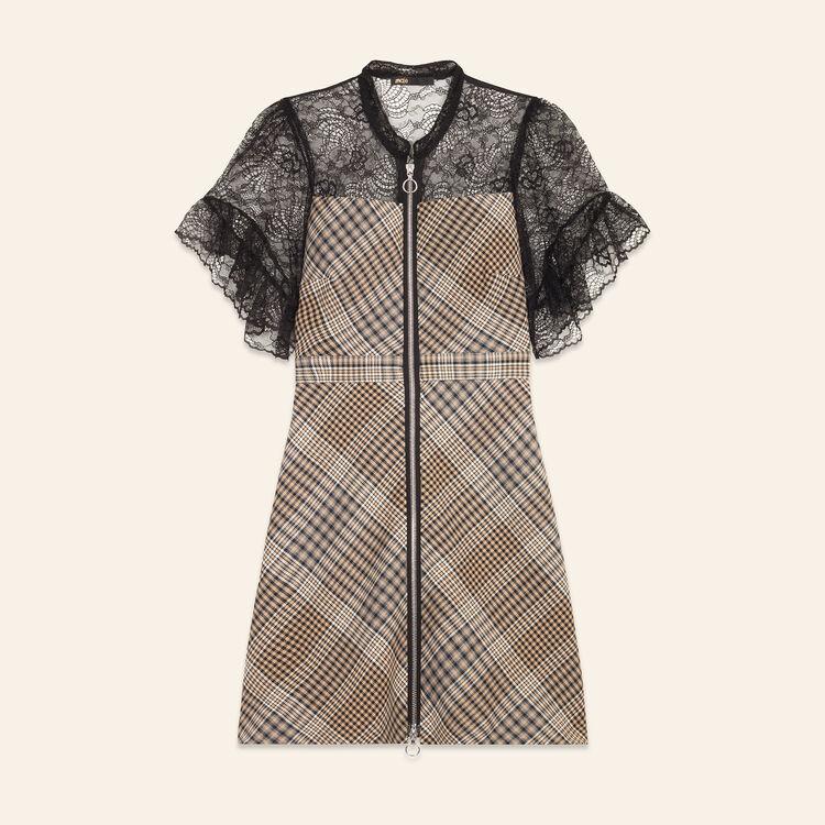 Short dual-material dress : Dresses color Jacquard