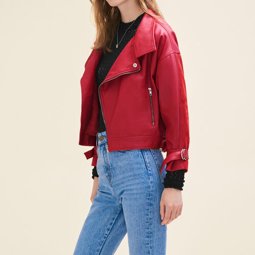 Vintage-style leather jacket - Jackets - MAJE