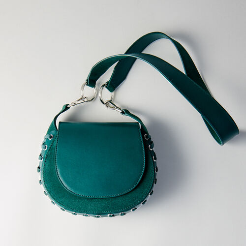 Laceup leather and suede Gyps handbag : Campaign FW19 color GREEN