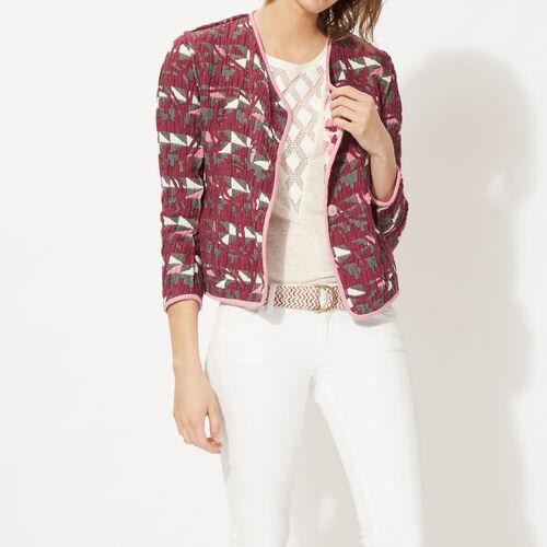 Reversible jacquard cotton jacket : Coats & Jackets color Jacquard