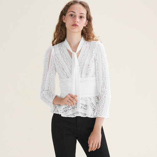 Embroidered top with ties : Tops color White