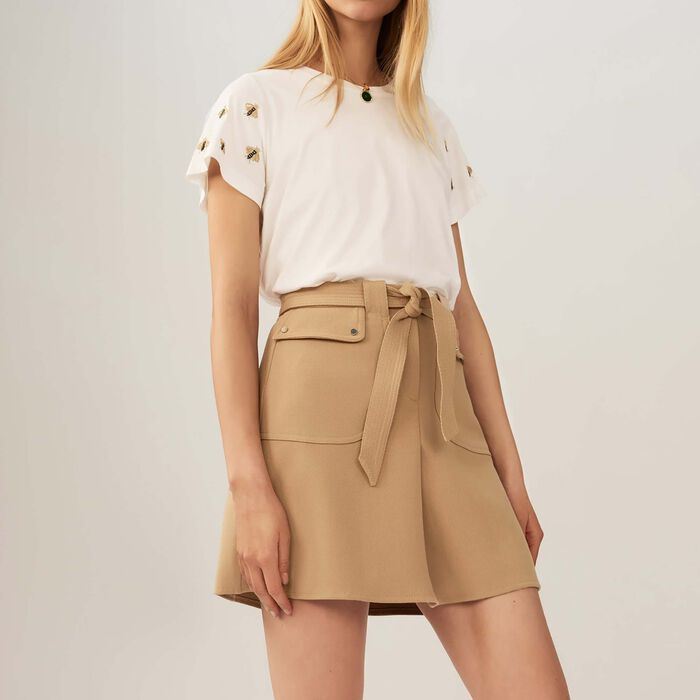 Skirt with tie belt : Skirts & Shorts color Camel