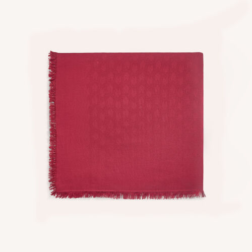 Cotton blend shawl : Accessories color Raspberry