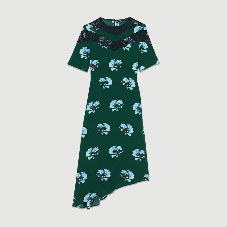 Asymmetric printed dress with lace : Ready to wear color PRINTED
