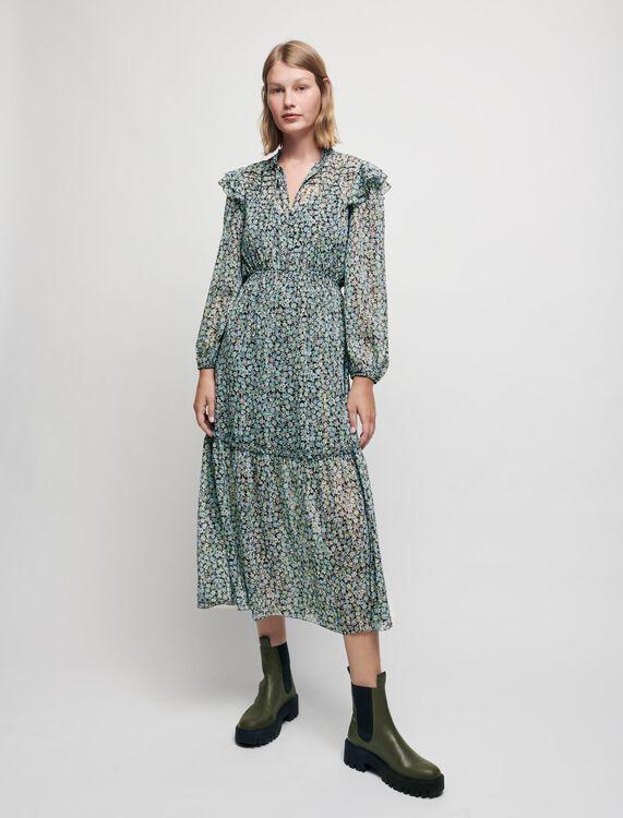 Printed lurex chiffon dress - Dresses - MAJE