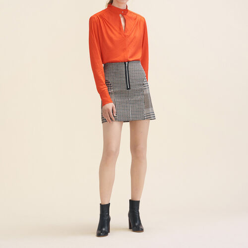 Flowing top with stand-up collar - Tops - MAJE