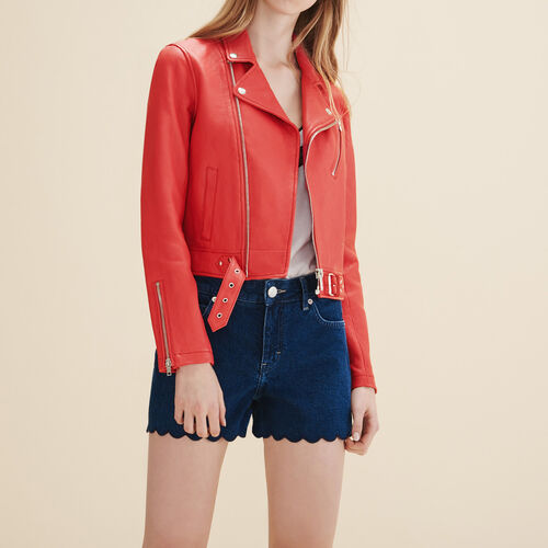 Biker-style leather jacket : Blazers & Jackets color Red