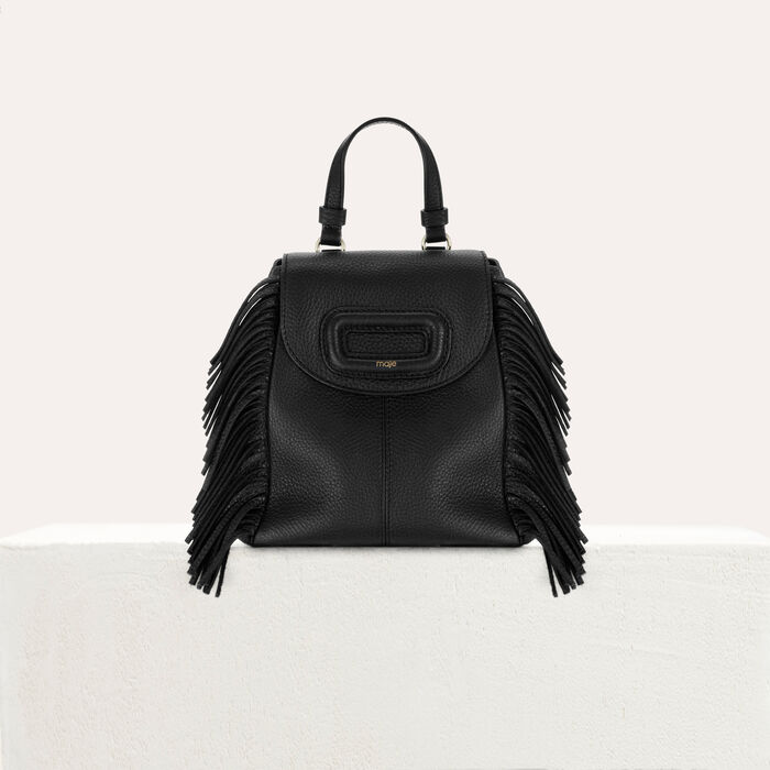 Mini M backpack in leather with chain : M Back color Black 210