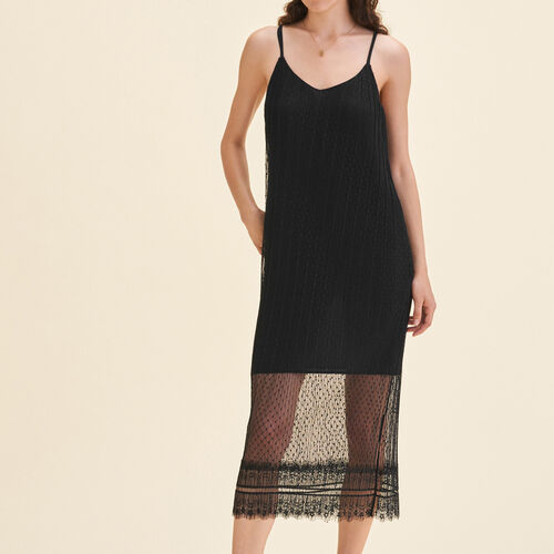 Sleeveless midi dress in dotted Swiss : Dresses color Black 210