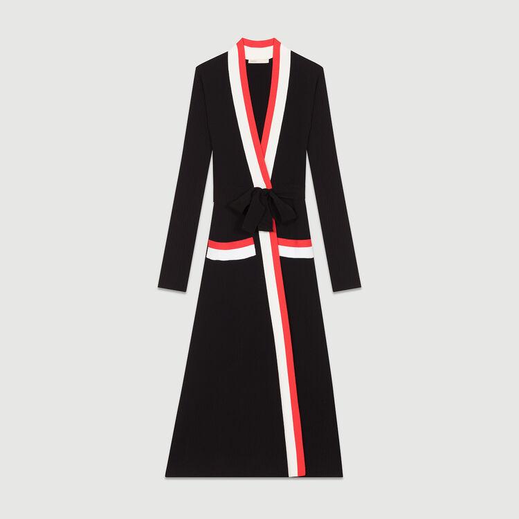 Long knitted wrap dress : Dresses color Black 210