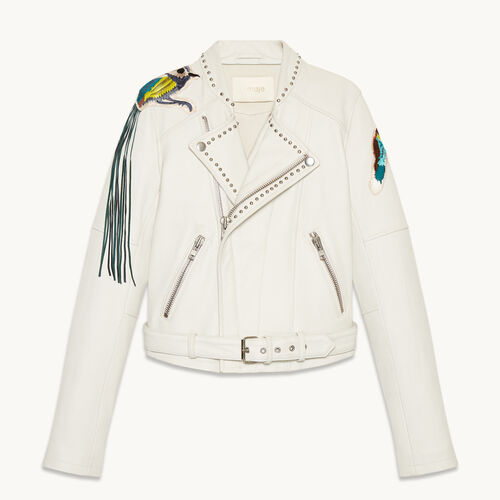 Leather jacket with badges and studs - null - MAJE