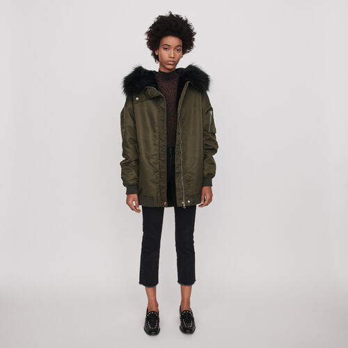 Bomber-style parka with hood : Coats & Jackets color Khaki