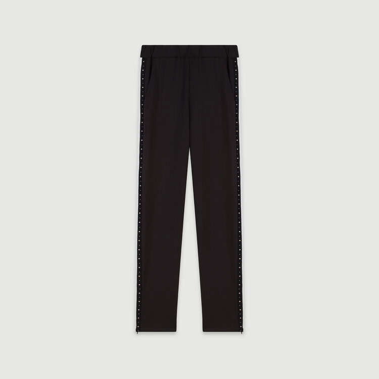 Studded pants with contrasting stripes : Winter collection color Black
