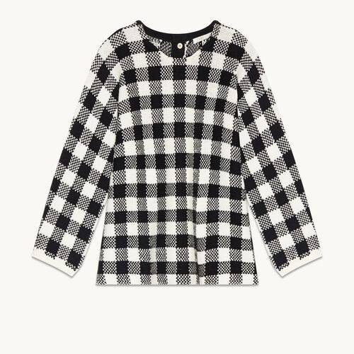 Short gingham jacquard jumper : Sweaters & Cardigans color Black 210