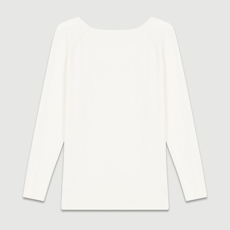 Jumper with low neckline at the back : Knitwear color Ecru