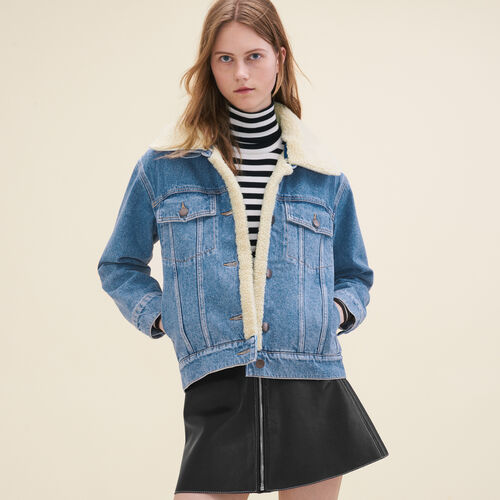 Denim jacket with sheepskin detail - Jackets - MAJE
