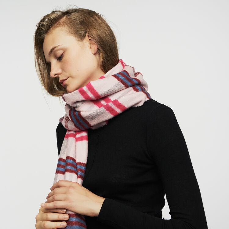 Plaid knit scarf : Shawls & Ponchos color Pink