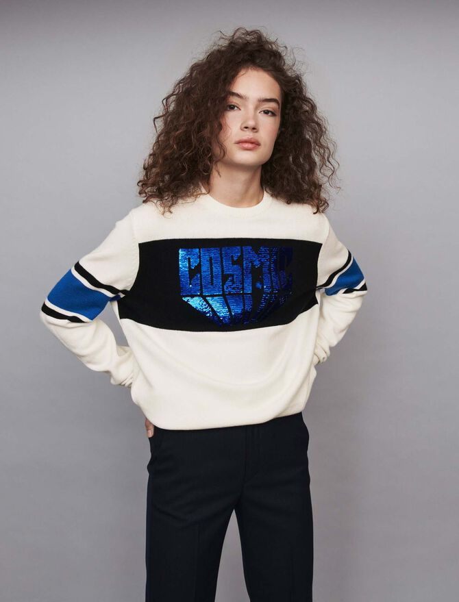 Sequin sweater with contrasting details - -50% - MAJE