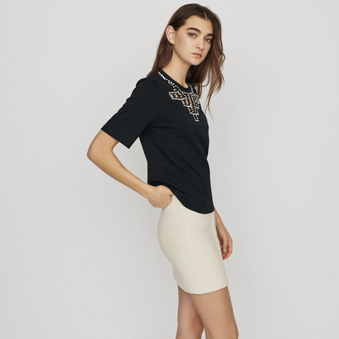 Open-work T-shirt with rhinestones - staff private sale 20 - MAJE