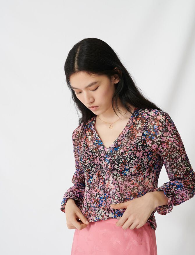 Floral-print silk dress - Tops & Shirts - MAJE