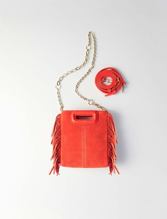 Mini two-toned suede M bag with chain -  - MAJE