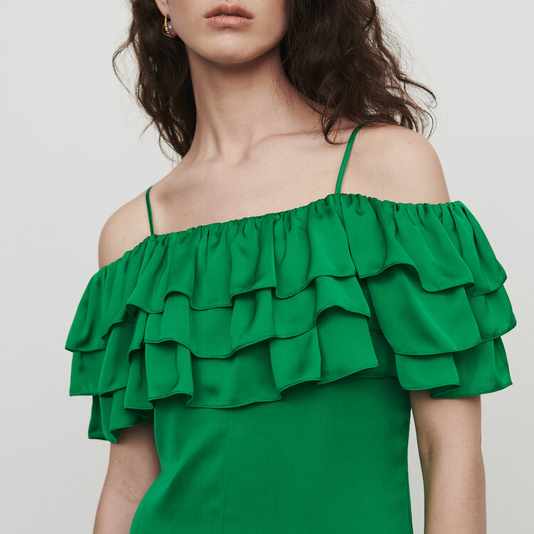 Midi dress with thin straps and ruffles : Dresses color Green