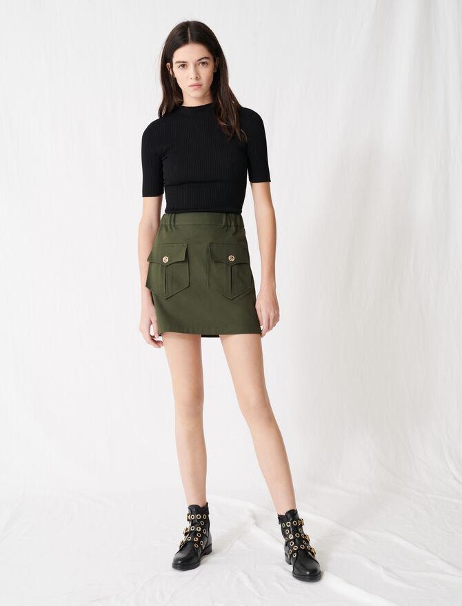 Khaki cotton skirt with pockets - Skirts & Shorts - MAJE