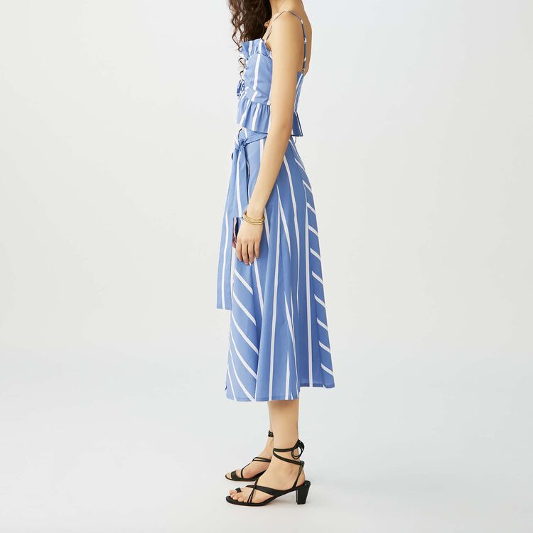 Long striped skirt with buckles : Twisted stripes color Blue