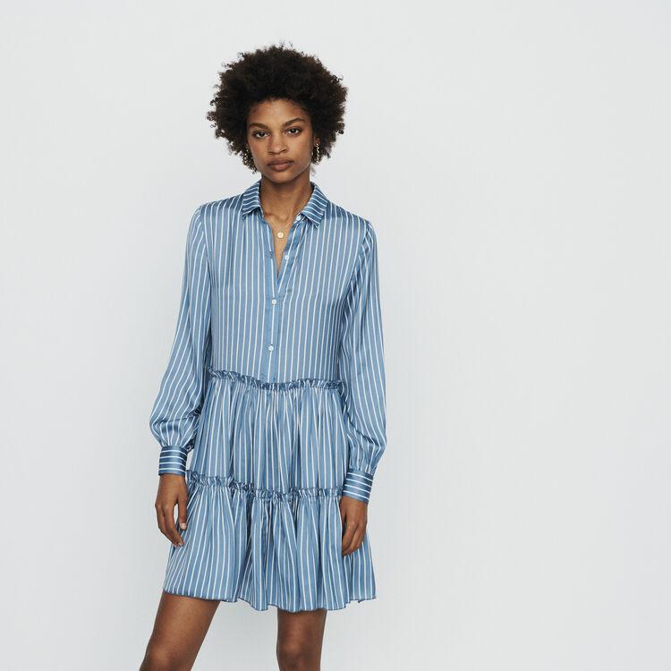 Striped shirt dress with ruffles : Dresses color Stripe