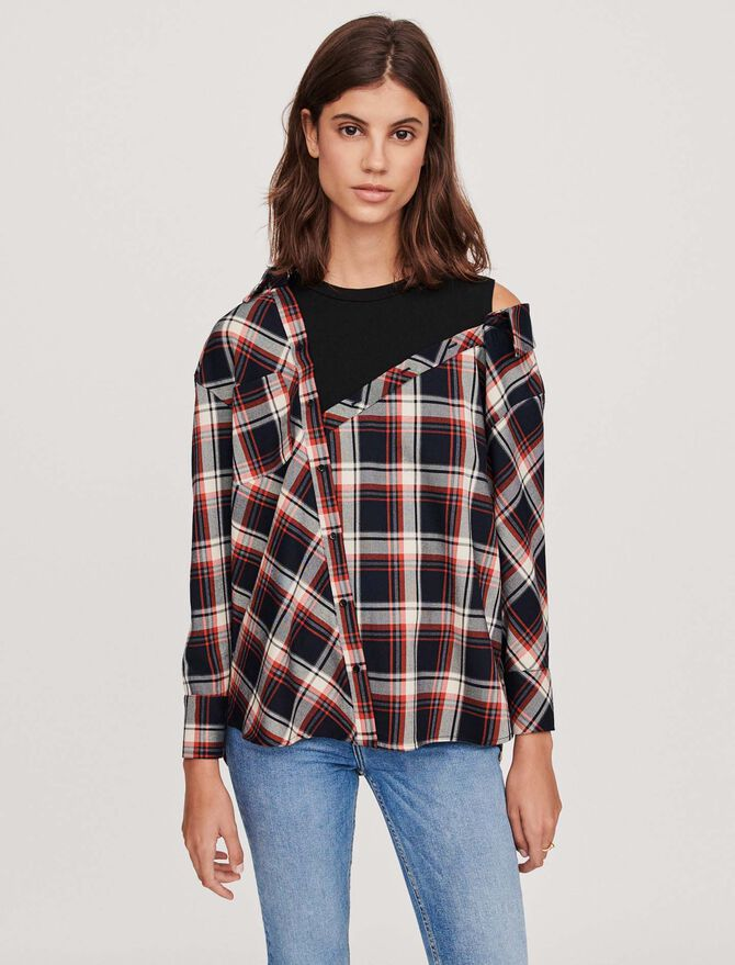 Trompe-l'oeil checkered shirt -  - MAJE