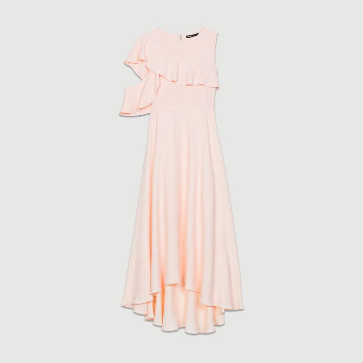 Long sleeveless asymmetric crepe dress : Ready to wear color PECHE