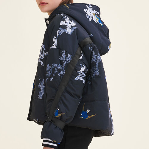 Cropped printed down jacket - Coats - MAJE