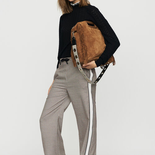 Elastic waist plaid pants : Trousers color CARREAUX
