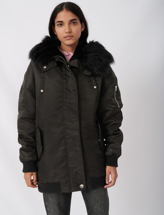 Hooded bomber-style parka - Coats & Jackets - MAJE