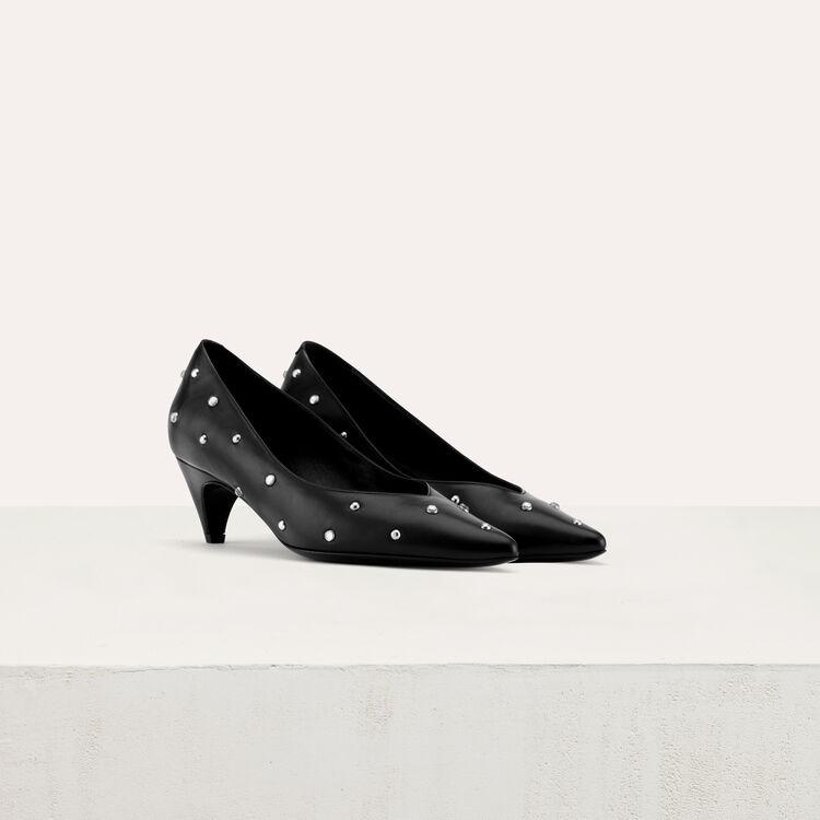 Kitten-heel glitter pumps : Shoes color Black 210