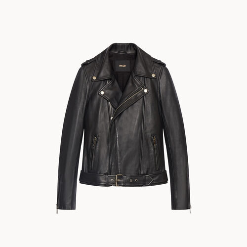 Lambskin bubble leather jacket : Coats & Jackets color Black 210