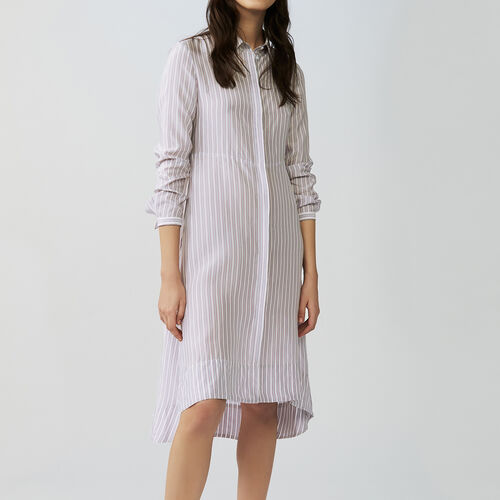 Asymmetrical striped shirt dress : Dresses color Stripe