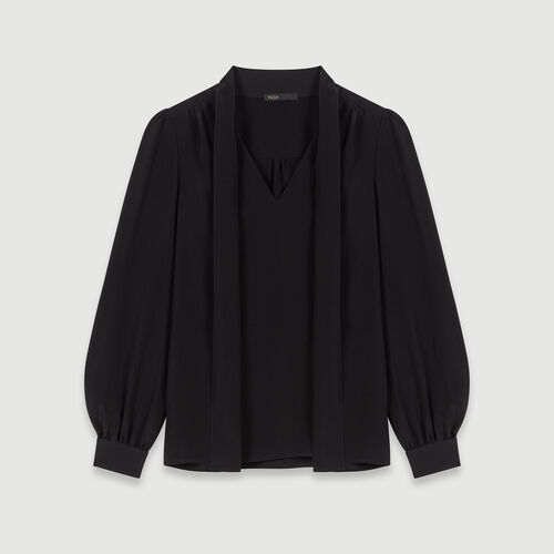 Pussycat bow silk top : Winter collection color Black