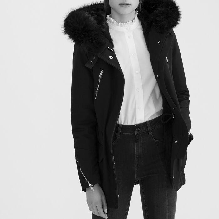 Cotton canvas parka : Coats color Black 210